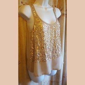 Two-Toned Sheer Sequin Tank
